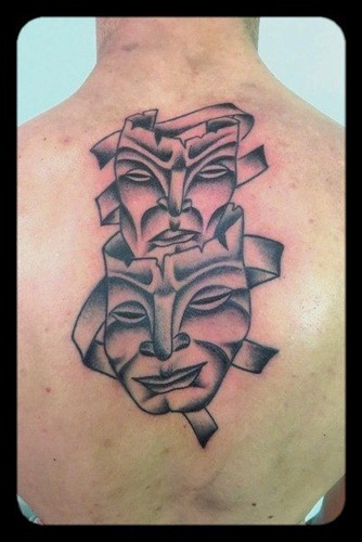 Mask Tattoos on Back-tattoos by vittoria