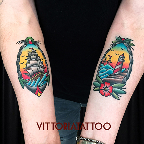 Old School boat lighthouse tattoo
