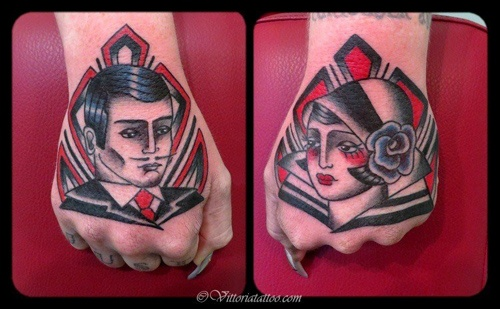 Man and woman hand art deco tattoo
