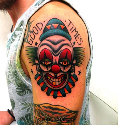 Old school clown tattoo