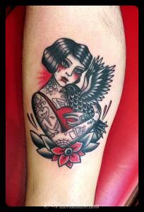 Girl with and crow tattoo