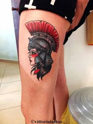 girl with roman helmet tattoo