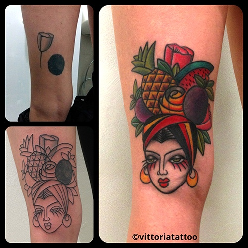 Cover up with Carmen Miranda-tattoo shop como vittoriatattoo