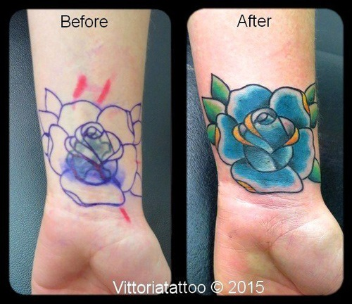 Cover with flower tattoo