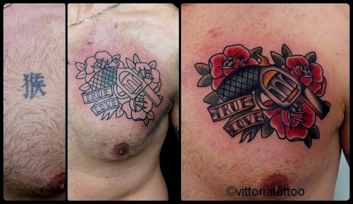 Cover with gun and roses tattoo|tattoo como|vittoriatattoo