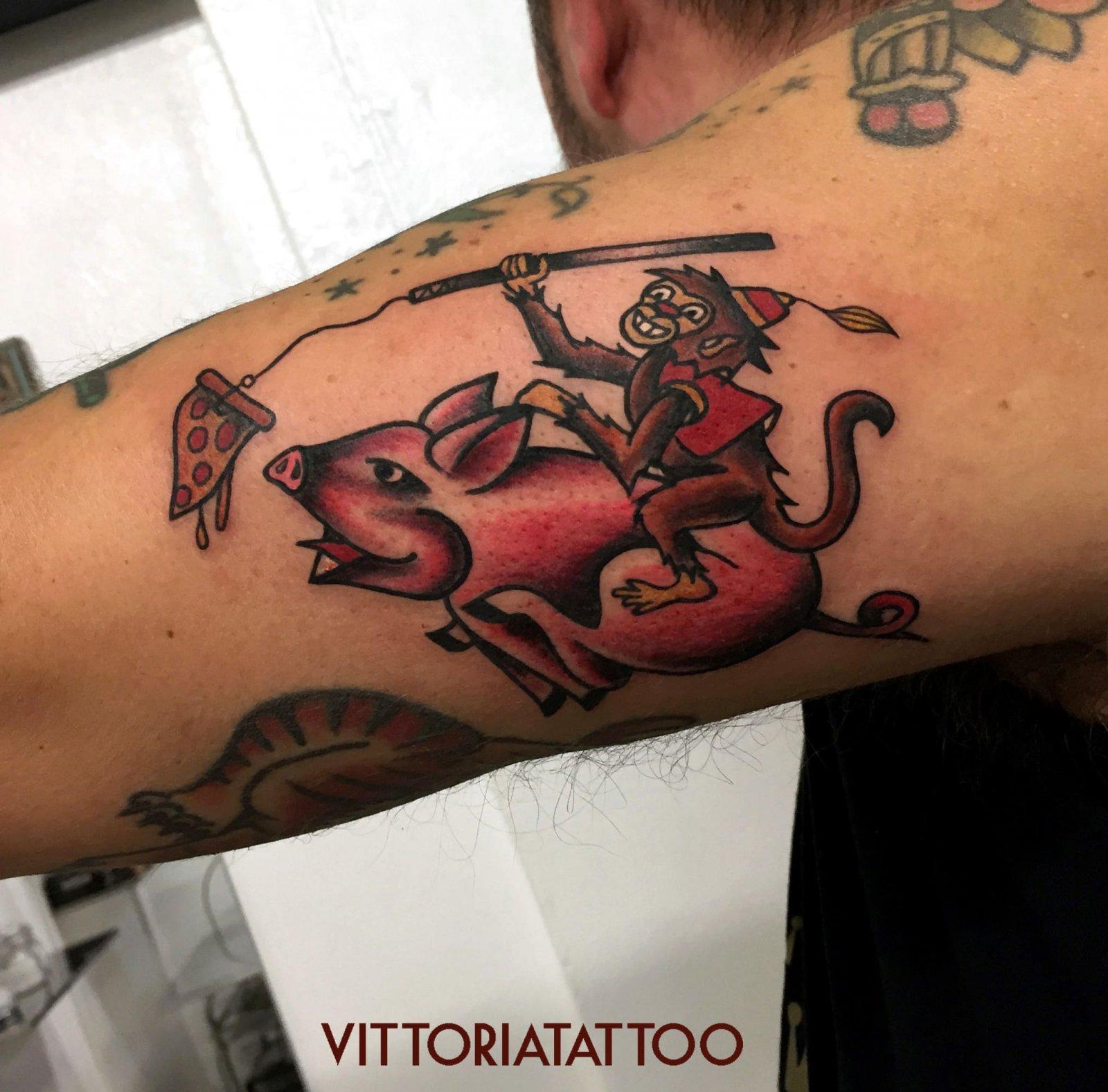 Old school pig and monkey tattoo|Tattoo Como|Via Volta 49 Como