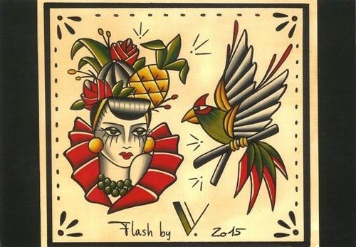 flash tattoo Carmensita pajaro tattoo flash -2015