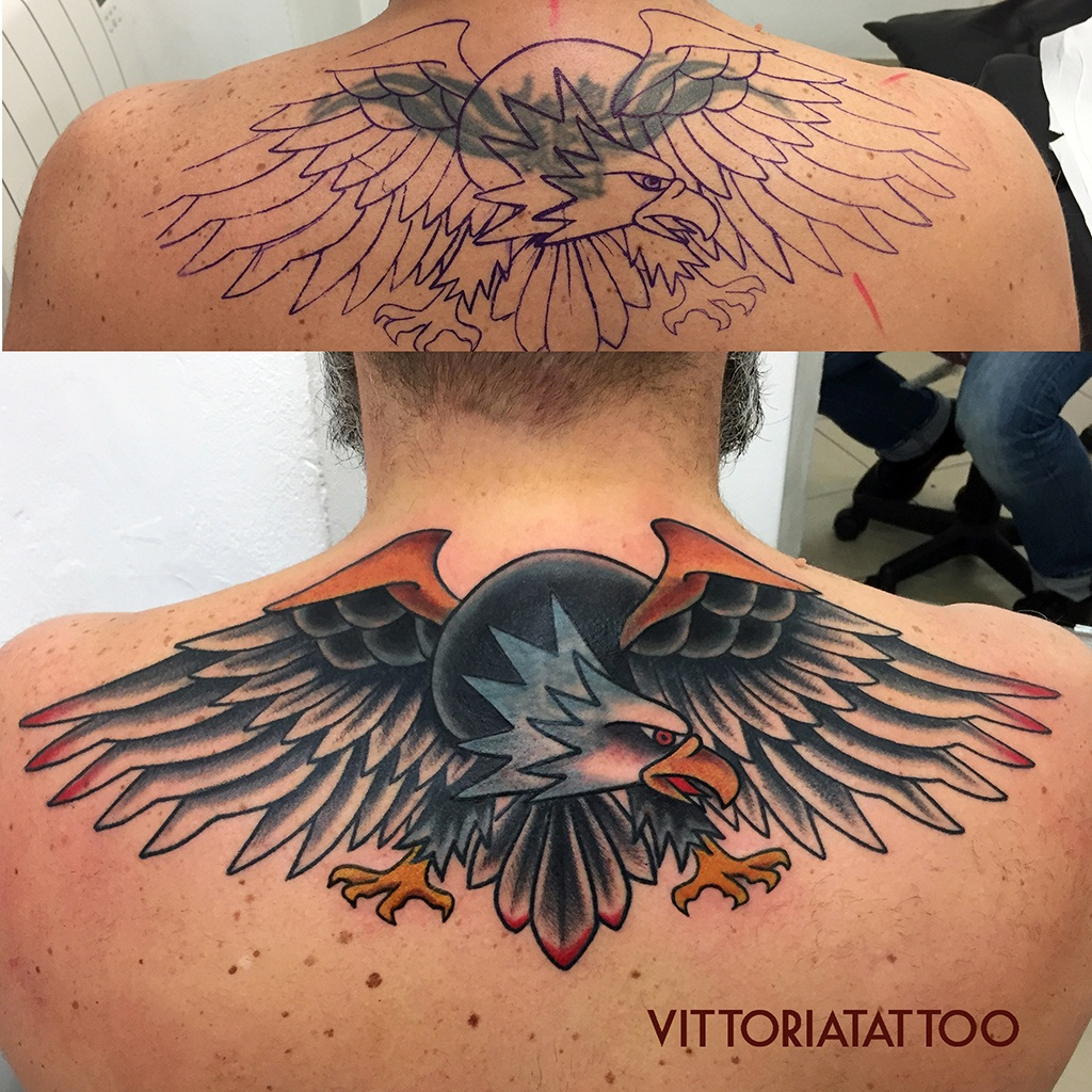 Tattoo Como|Cover Tribal With Eagle Tattoo|Cover by Vittoria