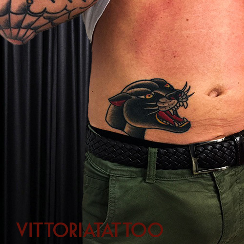 Old-school-panther-head-tattoo