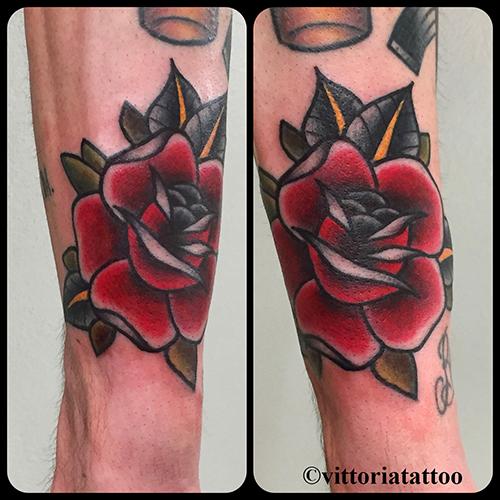 old school rose tattoo