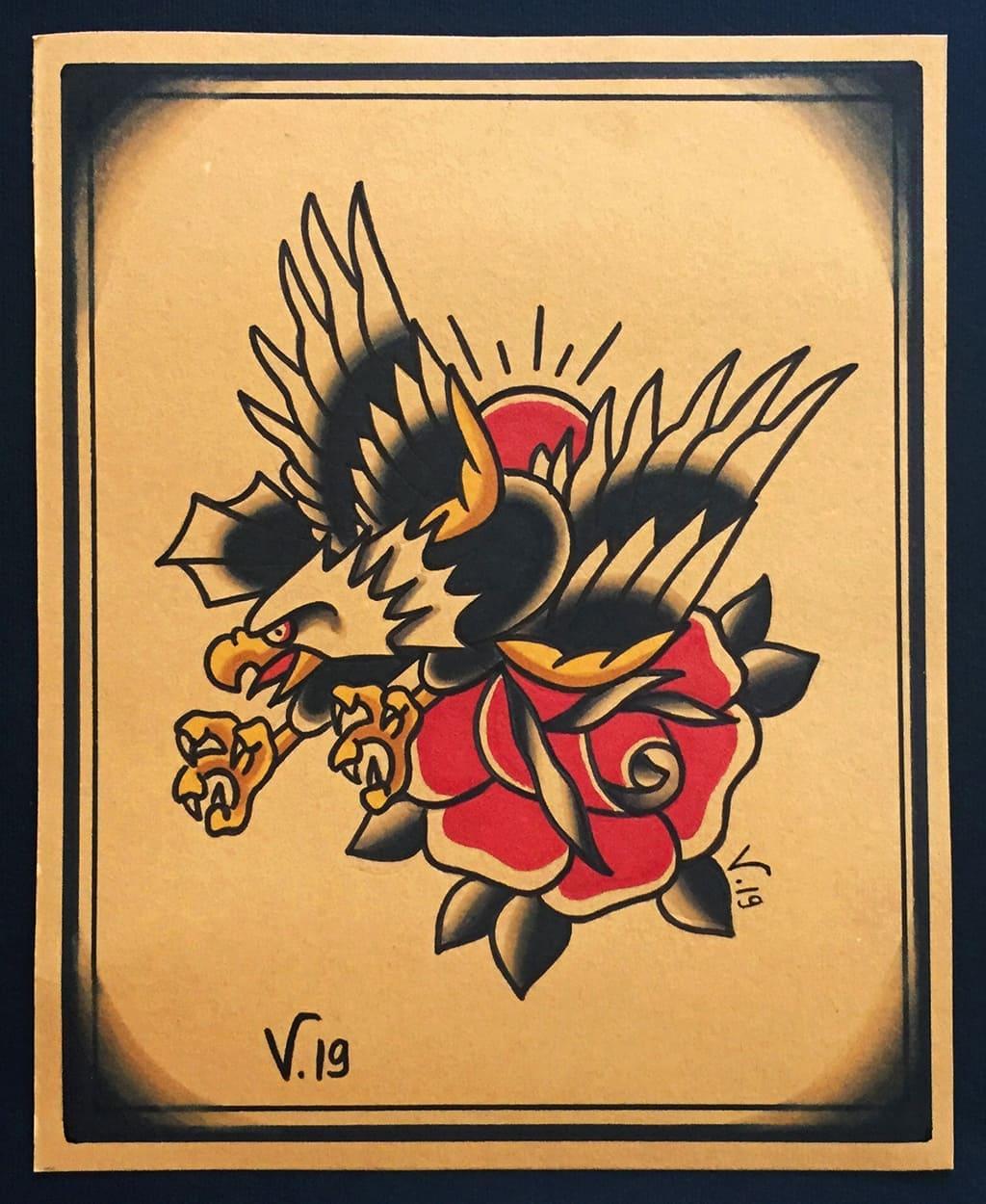 oldschool eagle and rose |flash tattoo como|vittoriatattoo