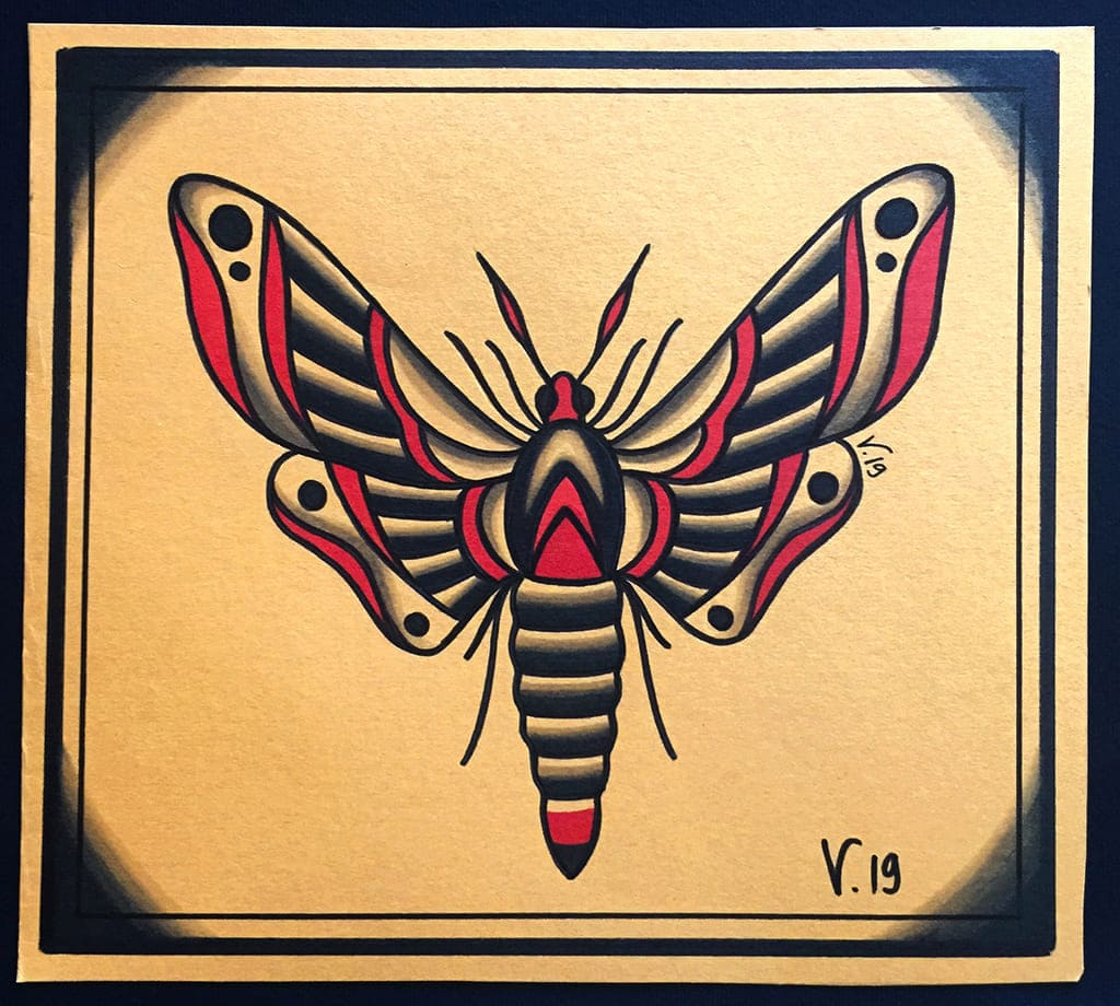 oldschool moth tattoo|flash tattoo|vittoriatattoo