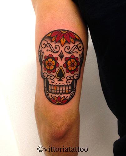 Old school sugar skull tattoo