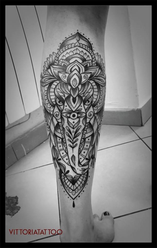 tattoo serie Ornamental Elephant Head tattoo by Vittoria