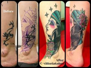 Cover tribal with gipsy girl-tattoo