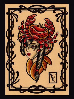 Miss crab|flash tattoo|vittoriatattoo