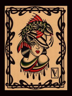 Miss fish|flash tattoo como|vittoriatattoo