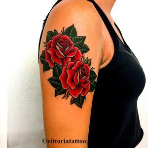 Old School Roses Tattoo