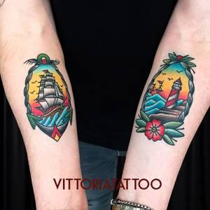 boat and lighthouse tattoo-tattoo como vittoria tattoo