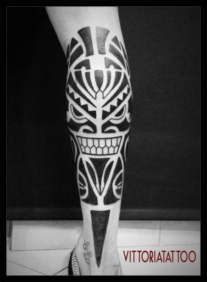 Maori style leg by vittoriatattoo-como Italy