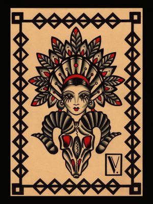 Weeta Squaw|flash tattoo|vittoriatattoo