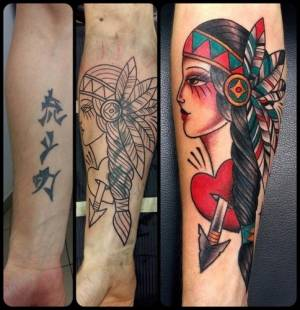 indian girl -cover tattoo