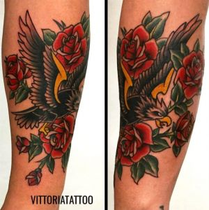 eagle and roses tattoo|como tattoo by vittoriatattoo