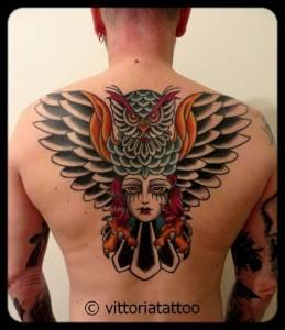 Gufo-donna tattoo-tatuaggi como-vittoriatattoo