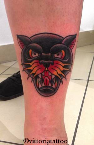 oldschooltattoo panther tattoo