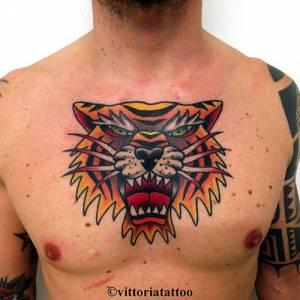 Old school Tiger head tattoo-Como shop Tattoo Vittoria