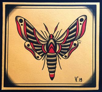 oldschool moth tattoo|flash tattoo|vittoriatattoo