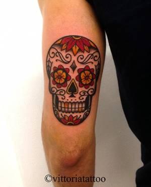 Old school sugar skull tattoo-como tattoo shop vittoria