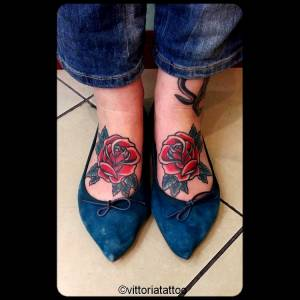 red roses on feet tattoo