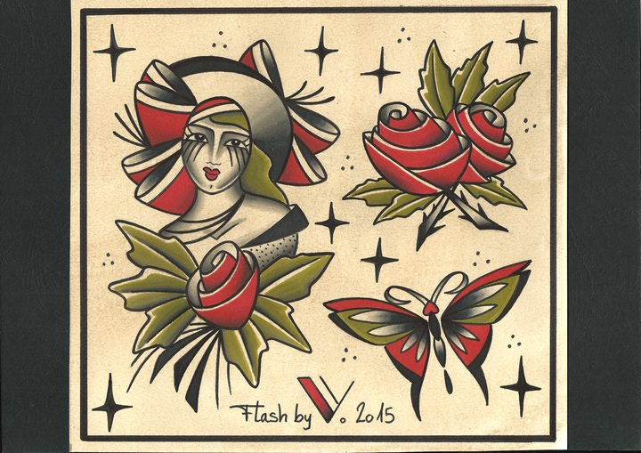 miss rose flash tattoo