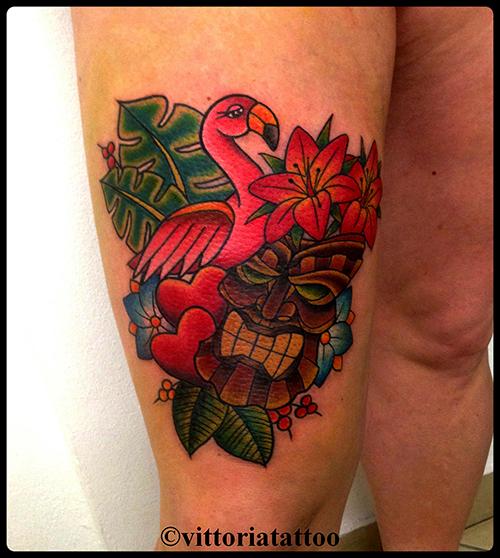 Tiki and flamingo tattoo|Tattoo Como| Vittoria