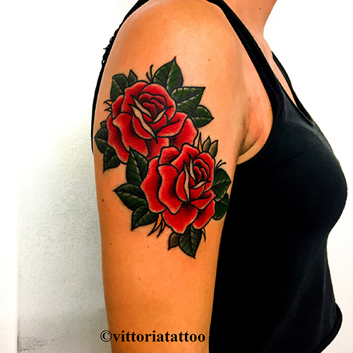 Old School Roses Tattoo-Tattoo Shop Como