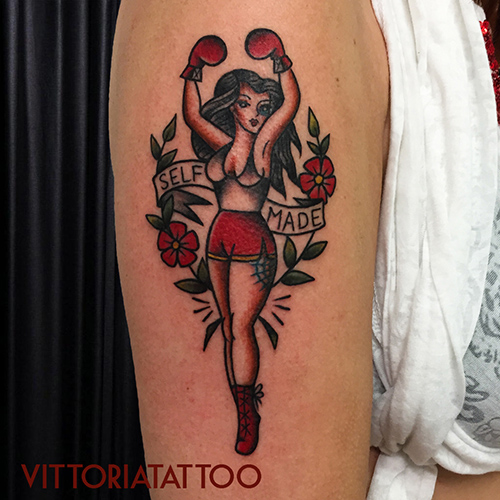 boxing pinup tattoo