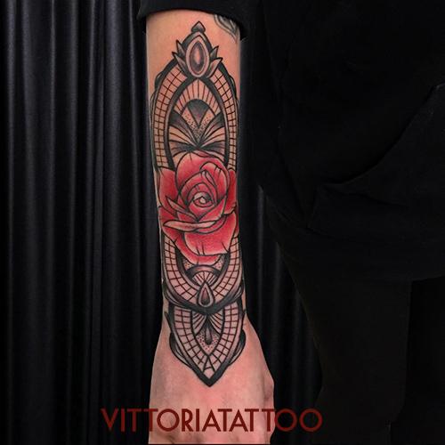 ornamental rose tattoo by vittoriatattoo|Tattoo Como|via volta 49 Como City