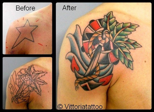 Cover up star tattoo
