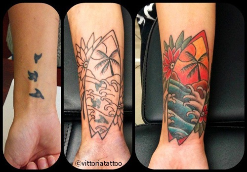 Cover with surfboard tattoo|tattoo como|vittoriatattoo