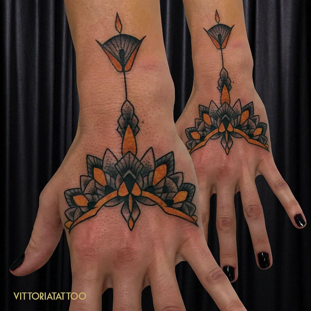 ornamental tattoo hand by viitoriatattoo