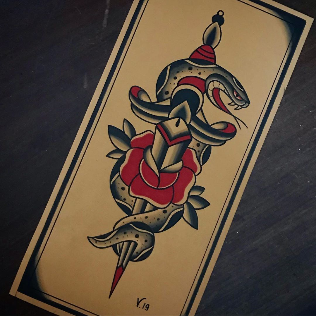 oldschool snake and dagger tattoo