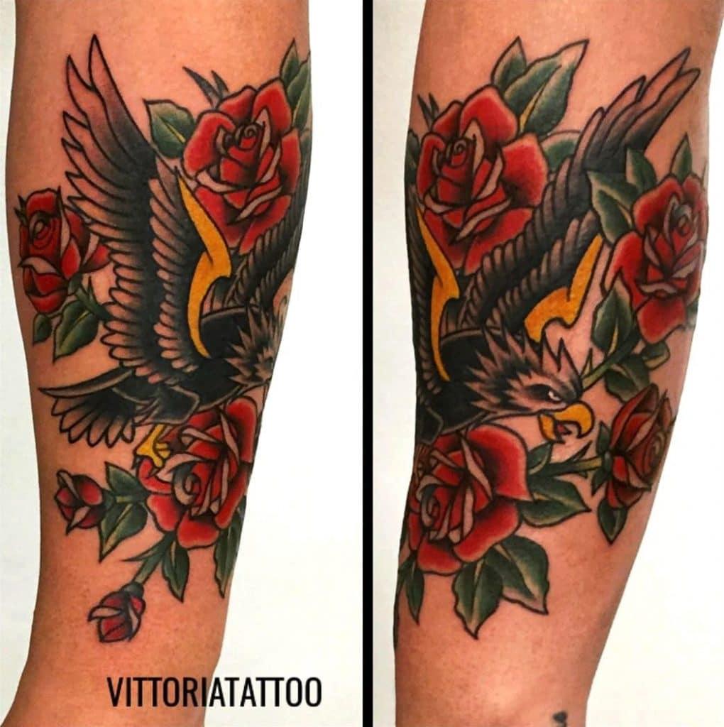 Eagle and roses Tattoo-tattoo Como -vittoriatattoo