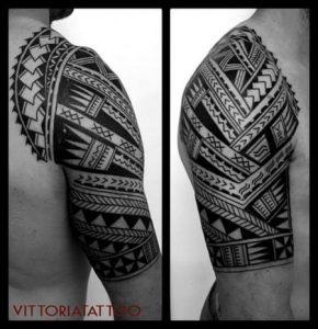 Tattoo Como-Polynesian Arm Tattoo-by vittoriatattoo