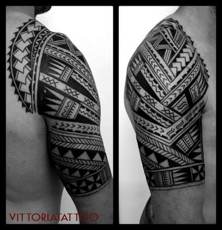 Tattoo Como-Polynesian Arm Tattoo-by vittoriatattoo