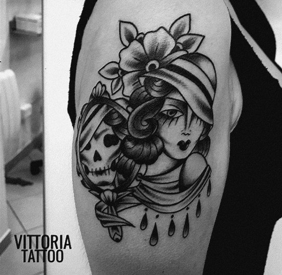 tattoo como-woman and the death tattoo-by vittoriatattoo