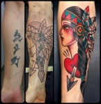 Cover up with indian girl-Como vittoriatattoo