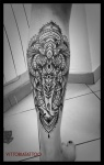 Ornamental Elephant Head tattoo by Vittoria